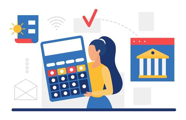 Contabilità aziendale finanza e gestione del budget donna con grande calcolatrice funzionante Vettore Premium