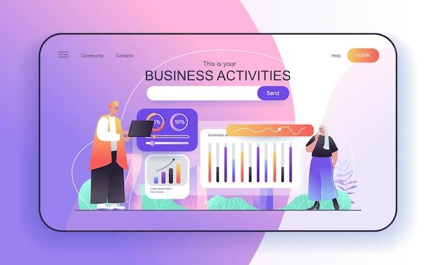 Il concetto di attività aziendali per i gestori di landing page analizza le statistiche finanziarie