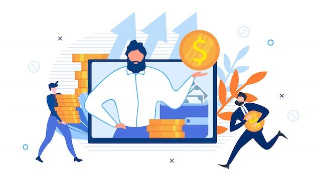 Consulente aziendale su schermo e rich office workers