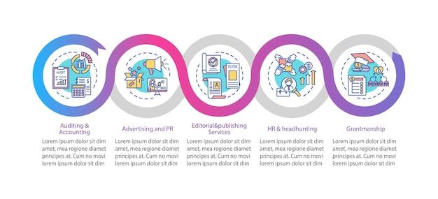 Illustrazioni del modello di infographic del servizio di consulenza aziendale
