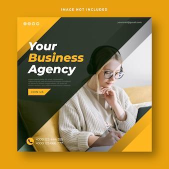 Modello di post sui social media dell'agenzia di affari