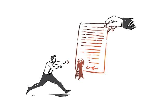 Accordo di affari, illustrazione di schizzo di concetto di contratto
