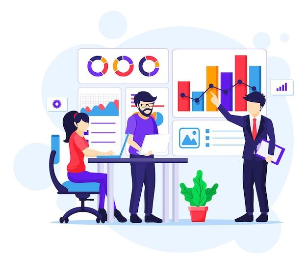 Concetto di analisi aziendale, persone in riunione e lavoro con grafici e visualizzazione dei dati grafici