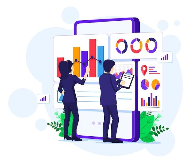 Concetto di analisi aziendale, le persone lavorano davanti a un grande telefono cellulare. revisione contabile, illustrazione di consulenza finanziaria