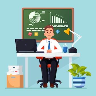 Analisi aziendale, analisi dei dati, statistica della ricerca, pianificazione. uomo che lavora alla scrivania in ufficio