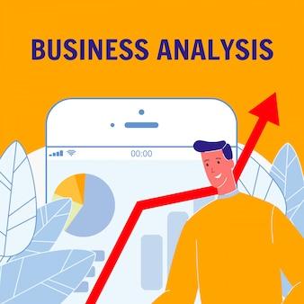 Poster di vettore piatto analisi aziendale con testo