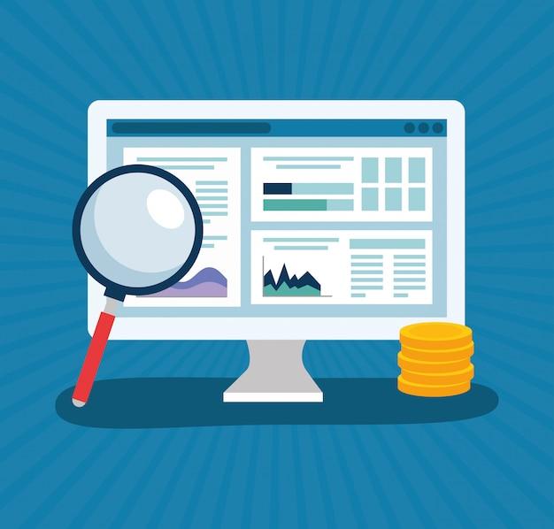 Progettazione di vettore di statistiche di analisi commerciale