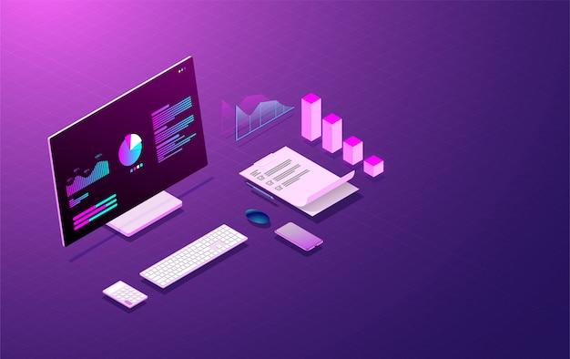 Concetto di sviluppo web del sistema di analisi aziendale.