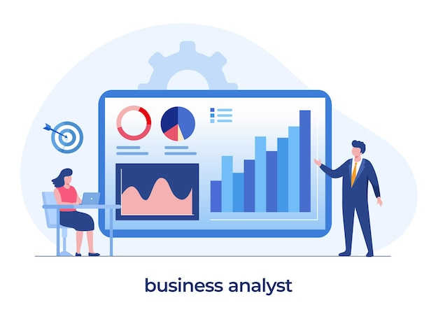 Concetto di analista aziendale, controllo del manager, imprenditore, lavoro di squadra, diagramma e diagramma di affari, modello di vettore di illustrazione piatta