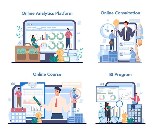Servizio online di analista aziendale o set di piattaforme