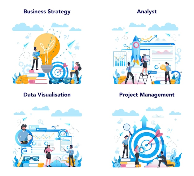 Banner web di analista aziendale o set di pagine di destinazione. strategia aziendale e gestione del progetto. ottimizzazione e progresso. persone che lavorano con grafico e diagramma.