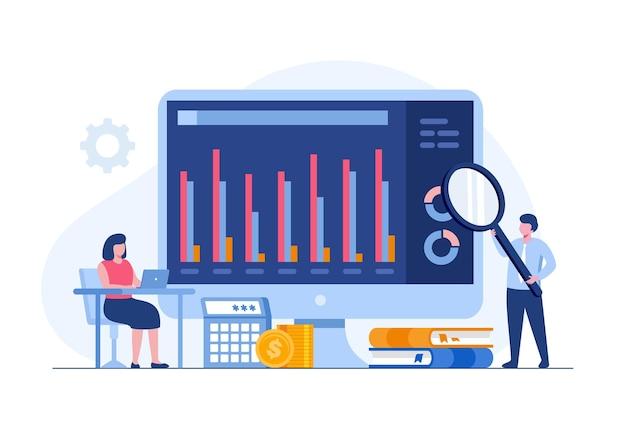 Analista aziendale con dashboard, controllo delle prestazioni, concetto di contabilità, vettore di illustrazione piatta