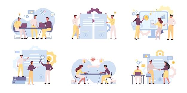 Illustrazioni piane di lavoro di squadra degli analisti di affari messe