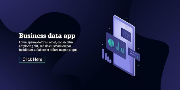Banner isometrico concettuale di app analitica aziendale