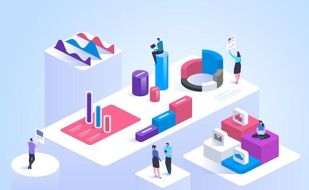 Illustrazione isometrica di vettore di analisi di affari. personaggi dei cartoni animati 3d del team di analisti professionisti. operatori di marketing che analizzano grafici e diagrammi di dati. social media marketing, concetto di analisi smm