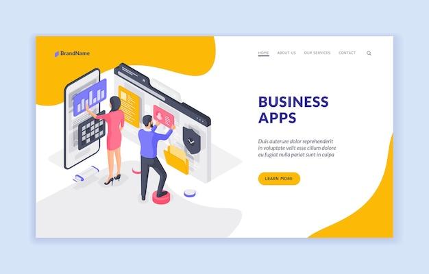 Modello di banner della pagina di destinazione delle app aziendali.
