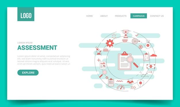 Concetto di valutazione aziendale con l'icona del cerchio per il modello di sito web o l'illustrazione vettoriale della homepage della pagina di destinazione