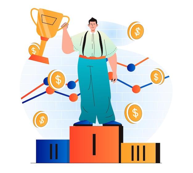 Concetto di premio aziendale in un moderno design piatto l'uomo d'affari detiene la coppa d'oro ha vinto il primo posto