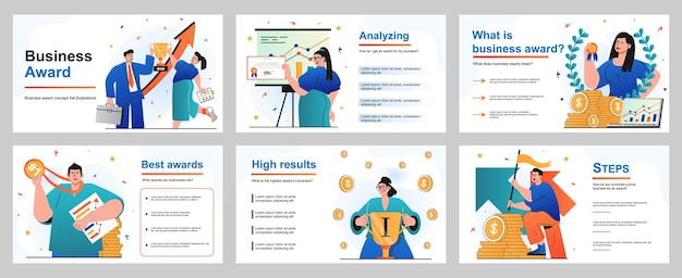 Concetto di premio aziendale per modello di diapositiva di presentazione uomini d'affari e donne d'affari