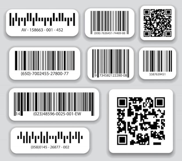 Insieme di vettore di codici a barre aziendali e codici qr. codice a strisce nere per identificazione digitale, codice a barre realistico.