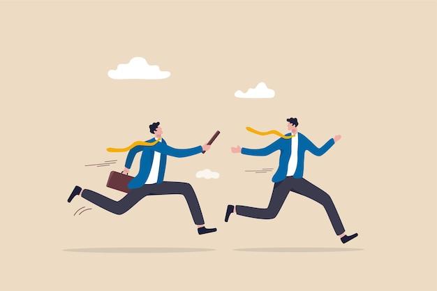Passaggio del testimone aziendale, staffetta, concetto di consegna del lavoro