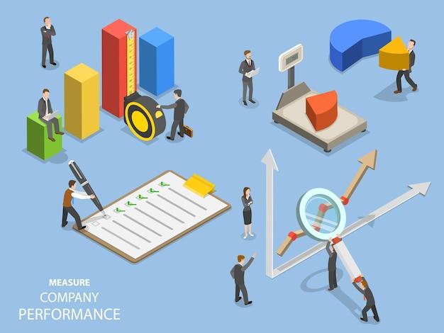 Benchmarking aziendale isometrico piatto