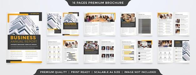 Modello di layout brochure aziendale bifold con uso di stile pulito per la relazione annuale