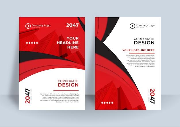 Modello di progettazione della copertina del libro di affari. design moderno della relazione annuale nel colore del tema rosso