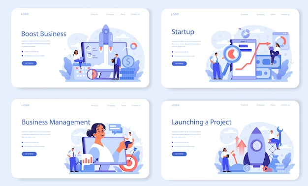 Layout web di potenziamento aziendale o set di pagine di destinazione. successo aziendale e personale. sviluppo aziendale e aumento dei profitti.