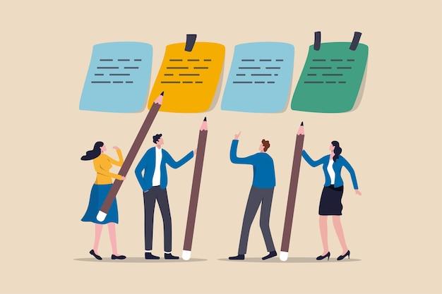 Brainstorming aziendale, incontro per fissare l'obiettivo e ottenere una soluzione per risolvere il problema o il concetto di metodo agile di scrum