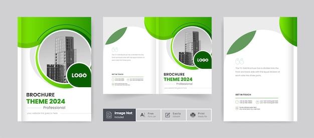 Brochure aziendale design copertina tema modello colorato moderno minimal bi fold brochure aziendale