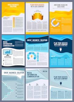 Brochure aziendale. volantini relazione annuale pagine di riviste opuscolo layout disegno vettoriale. libretto e rivista, copertina aziendale, illustrazione di presentazione brochure