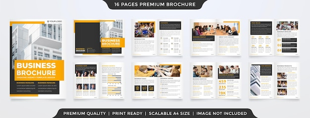 Modello di progettazione brochure aziendale con un concetto moderno e minimalista per il profilo aziendale e la proposta Vettore Premium