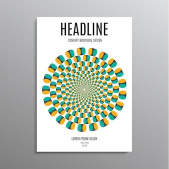 Brochure aziendale, modello o volantino di progettazione del layout in formato a4 con logo illusorio sullo sfondo. illustrazione di riserva