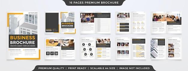 Modello di brochure aziendale con uno stile pulito e un layout moderno per il profilo aziendale e la presentazione