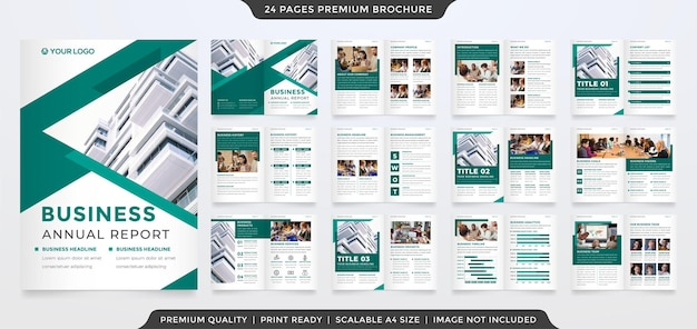 Modello di brochure aziendale con layout minimalista e stile premium