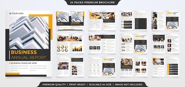Modello di brochure aziendale con layout moderno e stile minimalista