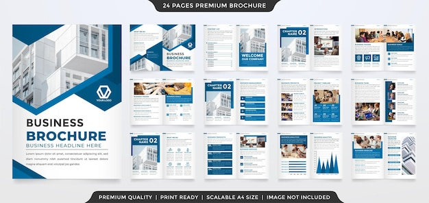 Modello di brochure aziendale con layout moderno e stile premium