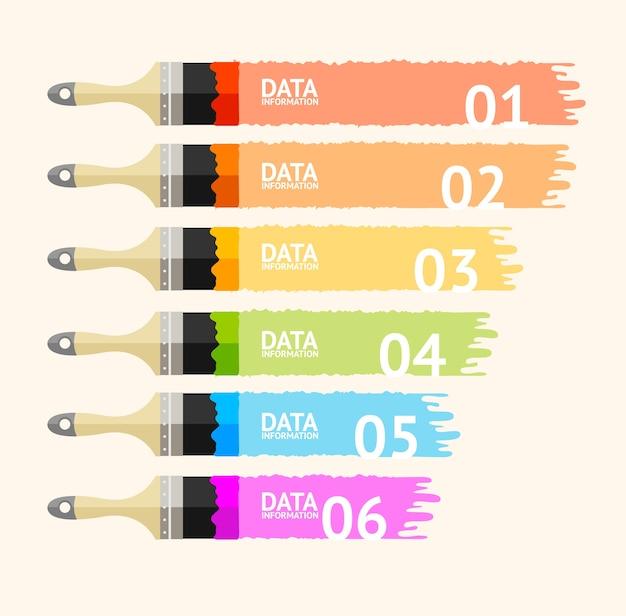 Infografica pennello aziendale per strisce orizzontali finanza aziendale design piatto