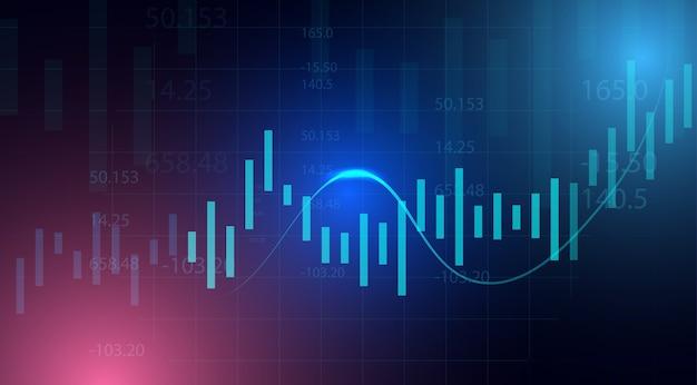Grafico del grafico del bastone della candela di affari del commercio di investimento del mercato azionario su fondo blu. punto rialzista, andamento del grafico. Vettore Premium