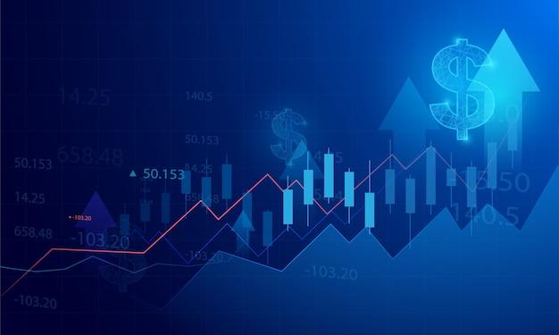 Grafico del grafico del bastone della candela di affari del commercio di investimento del mercato azionario su fondo blu. punto rialzista, andamento del grafico.