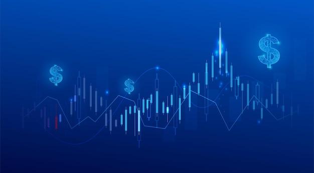 Grafico del grafico del bastone della candela di affari del commercio di investimento del mercato azionario su fondo blu. punto rialzista, trend rialzista del grafico. disegno vettoriale di economia.