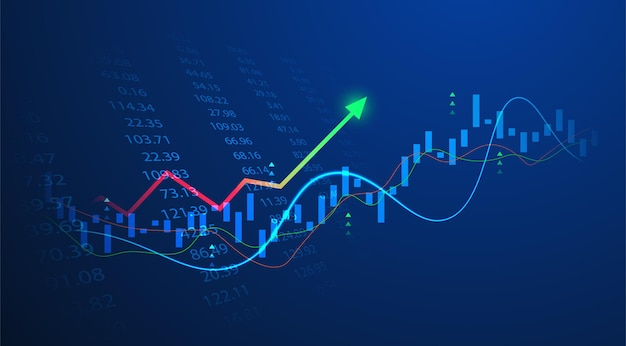 Grafico del grafico del bastone della candela di affari del commercio di investimento del mercato azionario su fondo blu. punto rialzista, trend rialzista del grafico. disegno vettoriale di economia