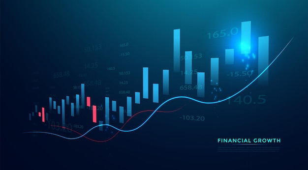 Grafico del grafico del bastoncino di candela aziendale del trading di investimenti nel mercato azionario