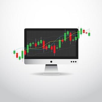 Grafico del grafico del bastone della candela di affari dell'investimento del mercato azionario