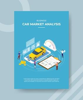 Persone di analisi del mercato delle auto aziendali in piedi intorno all'auto negli appunti del grafico dello smartphone
