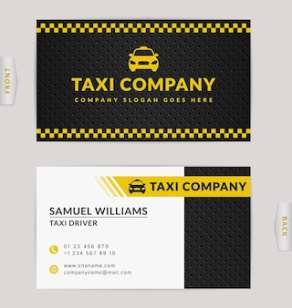 Progettazione di biglietti da visita nei colori nero, bianco e giallo. modello per compagnia di taxi e tassista.