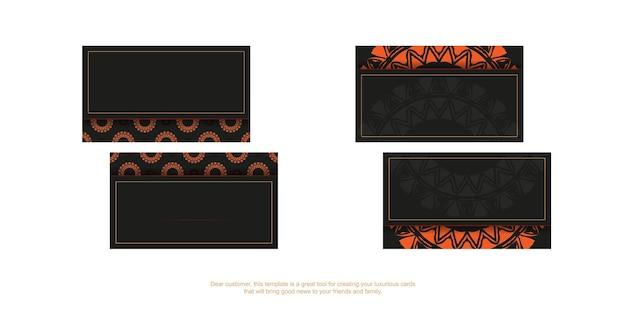 Design del biglietto da visita in nero con ornamenti arancioni. biglietti da visita vettoriali con posto per il tuo testo e modelli vintage.
