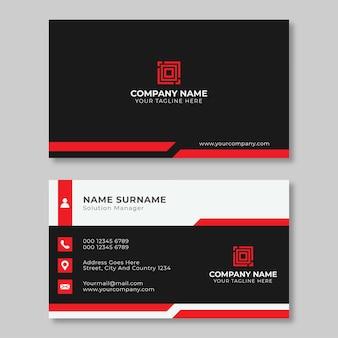 Layout del biglietto da visita con elementi rossi.