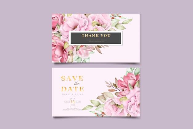 Biglietto da visita con bellissimo acquerello floreale